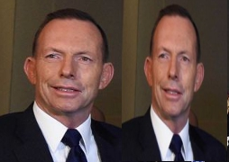 Photo on the left shows treated media image; on the right Abbott as he really is, unsquashed